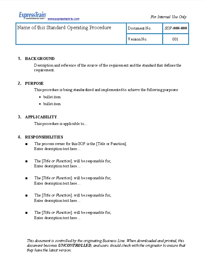 standard operating guidelines template - standard operating procedure examples sop examples