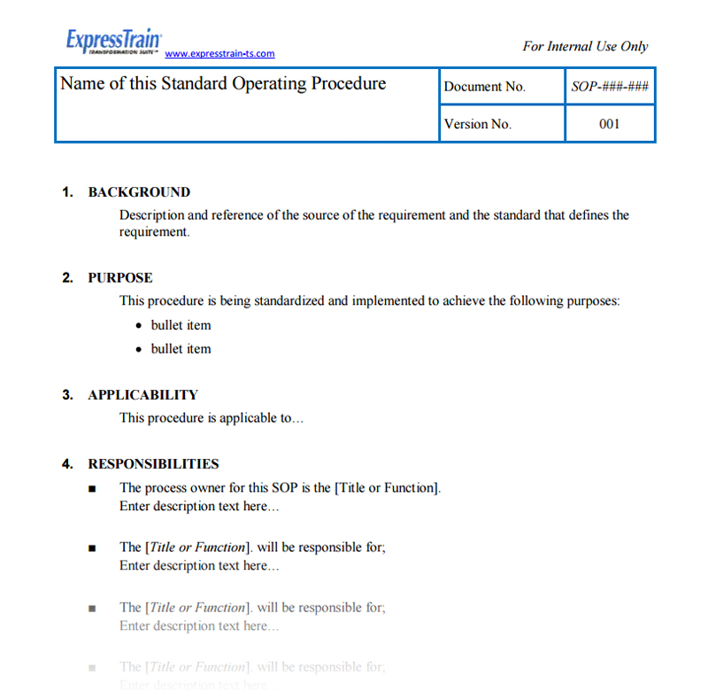 Standard Operating Procedure Template | Sop Template